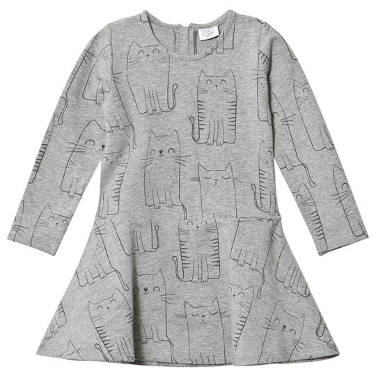 Hust&Claire Light Gray Melange Cat Print Dress Light Grey Melange