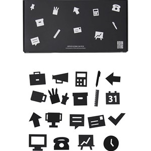 Image of Design Letters Office Icons for Message Board Black (20 Pack) (3003086851)