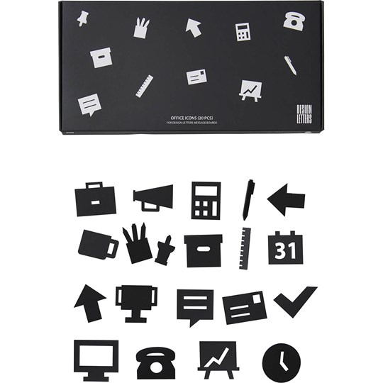 Design Letters Office Icons for Message Board Black (20 Pack) Black