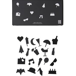 Design Letters Party Icons for Message Board Black (20 Pack)