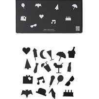 Design Letters Party Icons for Message Board Black (20 Pack) Black