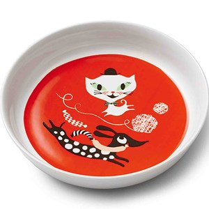 Image of Littlephant Porcelain Plate Cat Fun - Red (3006286935)