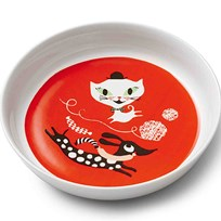 Littlephant Porcelain Plate Cat Fun - Red Red