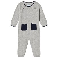Noa Noa Miniature Gray and Navy Long Sleeved Baby Body with Pockets Grey Melange