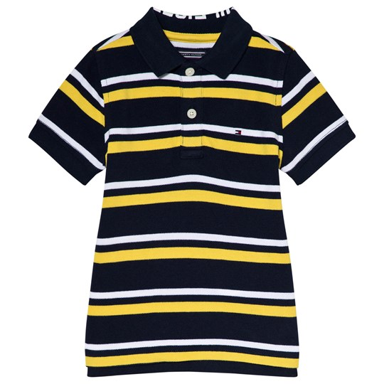 Tommy Hilfiger Navy and Yellow Stripe Polo Shirt 711