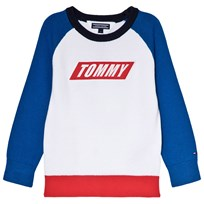 Tommy Hilfiger White Colour Block Branded Sweater 123