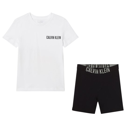 Calvin Klein White Branded T-Shirt and Black Shorts Pyjama Set 114