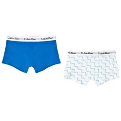 Calvin Klein Pack of 2 White Staircase Logo Print and Blue Branded Boxers