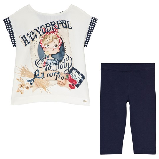 Mayoral Retro Girl Topp och Leggings Set Marinblå 79