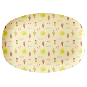 Rice Large Rectangular Melamine Plate with Summer Print