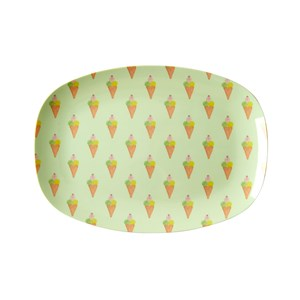 Rice Small Rectangular Melamine Plate with Ice Cream Print