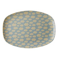 Rice Large Rectangular Melamine Plate with Cloud Print голубой