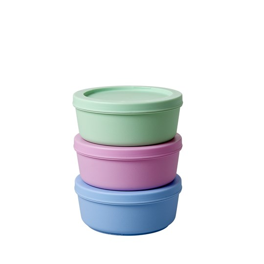 Rice 3-Pack Interlocking Food Boxes Assorted Colors Multi