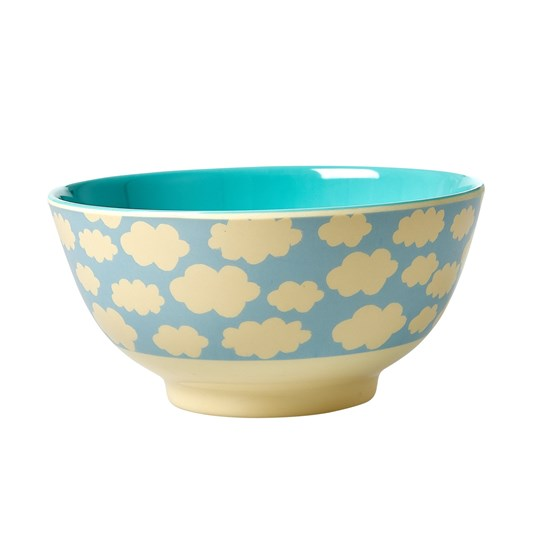 Rice Melamine Bowl with Cloud Print Blue