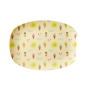 Rice Small Rectangular Melamine Plate with Summer Print