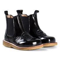Angulus Black Patent Leather Heart Brogue Boots 1310