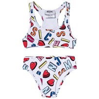 Moschino Kid-Teen White Multi Heart and Branded Bikini 83211