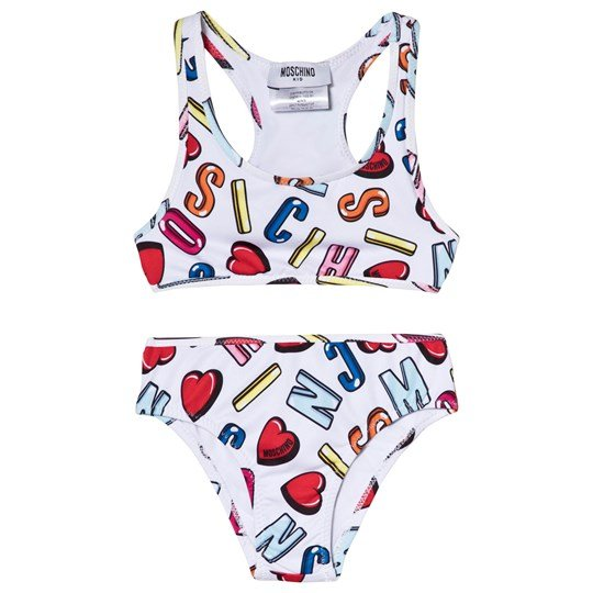 ee69b33c245ca Moschino Kid-Teen - White Multi Heart and Branded Bikini - Babyshop.com