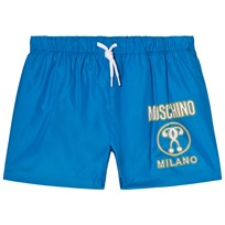 Moschino Kid-Teen Blue Branded Milano Print Swim Shorts 40203