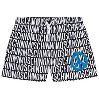 Moschino Kid-Teen Black and White All Over Print Swim Shorts 83190