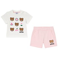 Moschino Kid-Teen White Bear and Fruit Print Tee and Shorts Set 50413