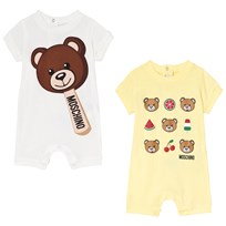 Moschino Kid-Teen 2 Pack of Bear Print Rompers 83197