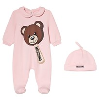 Moschino Kid-Teen Pink Bear Ice Cream Print Babygrow and Hat in Gift Box 50413