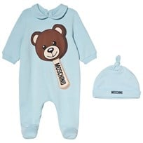 Moschino Kid-Teen Pale Blue Bear Ice Cream Print Babygrow and Hat in Gift Box 40452