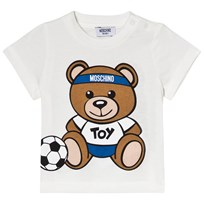 Moschino Kid-Teen White Bear Football Front and Back Print Tee 10063