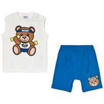 Moschino Kid-Teen Bear Print Väst och Shorts Set Vit 40203