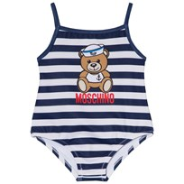 Moschino Kid-Teen Sailor Bear Print Baddräkt Vit och Marinblå 80470