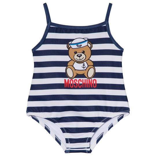 Moschino Kid-Teen Navy and White Sailor Bear Print Swimsuit 80470