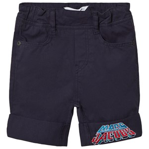 Image of Little Marc Jacobs Branded Patch Gabardine Shorts In Navy 9 months (3006286827)