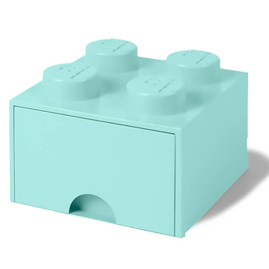 LEGO Storage Lego Brick Drawer (4 knobs) Green Aqua