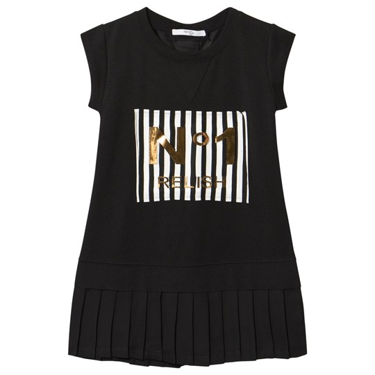 Relish Black Gold 3D No1 Pleated Bottom Tee Dress 1000 BLACK
