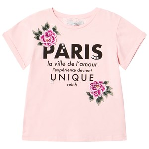 Image of Relish Pale Pink Paris Slogan and Rose Applique Tee 8 years (3007398165)