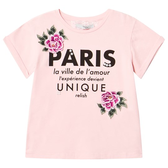 Relish Pale Pink Paris Slogan and Rose Applique Tee 202 BABY PINK