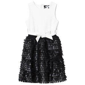 Image of Relish Cream with Black Faux Leather Detail Dress 10 years (3007394727)