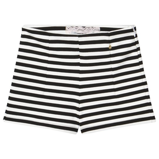 Relish Black and Cream Stripe Stretch Shorts 1000 BLACK