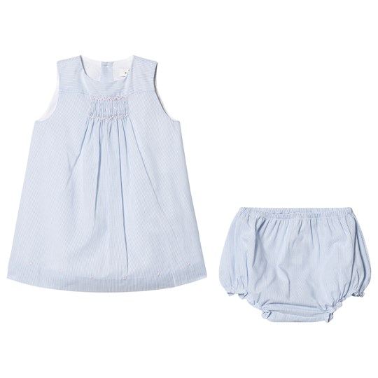 Cyrillus Pale Blue Stripe Dress and Bloomers 6388