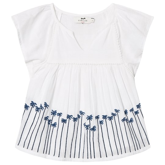 Cyrillus White and Blue Embroidered Blouse 6350