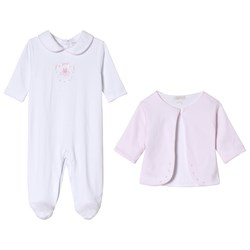 Kissy Kissy White Hand Embroidered Ballet Applique Babygrow with Pink Jacket