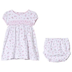 Kissy Kissy White Butterfly Print Smocked Dress with Bloomers