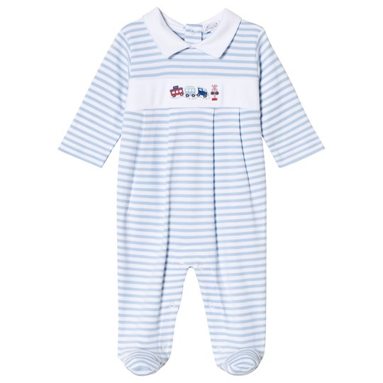 Kissy Kissy Blue Stripe Train Embroidered Babygrow with Collar LB