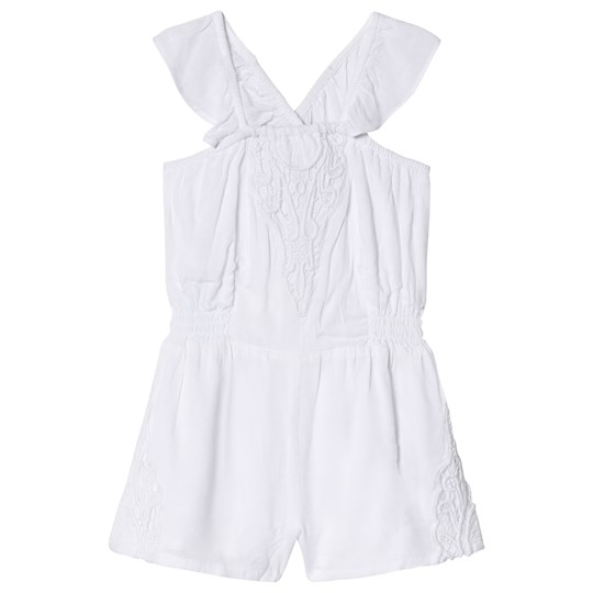 Carrément Beau White Broderie Anglaise Detail Playsuit 10B