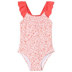 Carrément Beau Pink and White Floral Frill Swimsuit