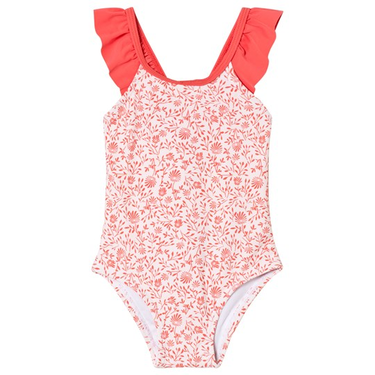 Carrément Beau Pink and White Floral Frill Swimsuit 45S