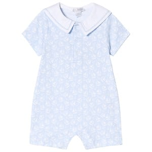 Image of Kissy Kissy Blue Sailing Print Collared Romper 0-3 months (3007394293)