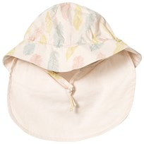 Noa Noa Miniature Sand Dollar Feather Print Sun Hat with Neck Guard SAND DOLLAR