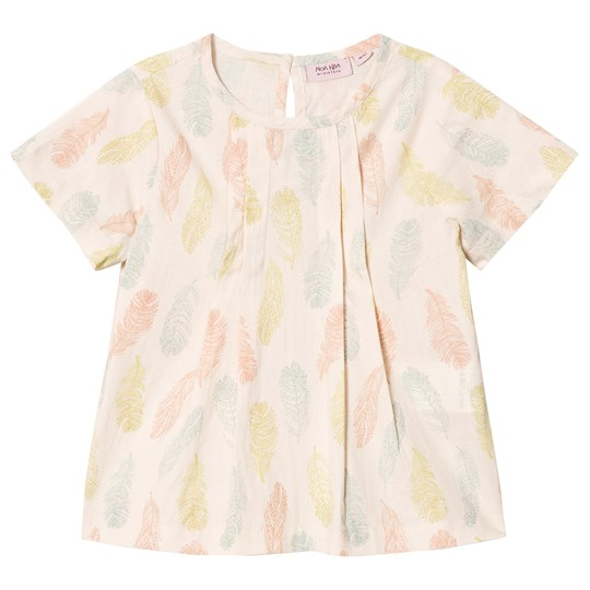 Noa Noa Miniature Sand Dollar Short Sleeve Feather Print Blouse SAND DOLLAR